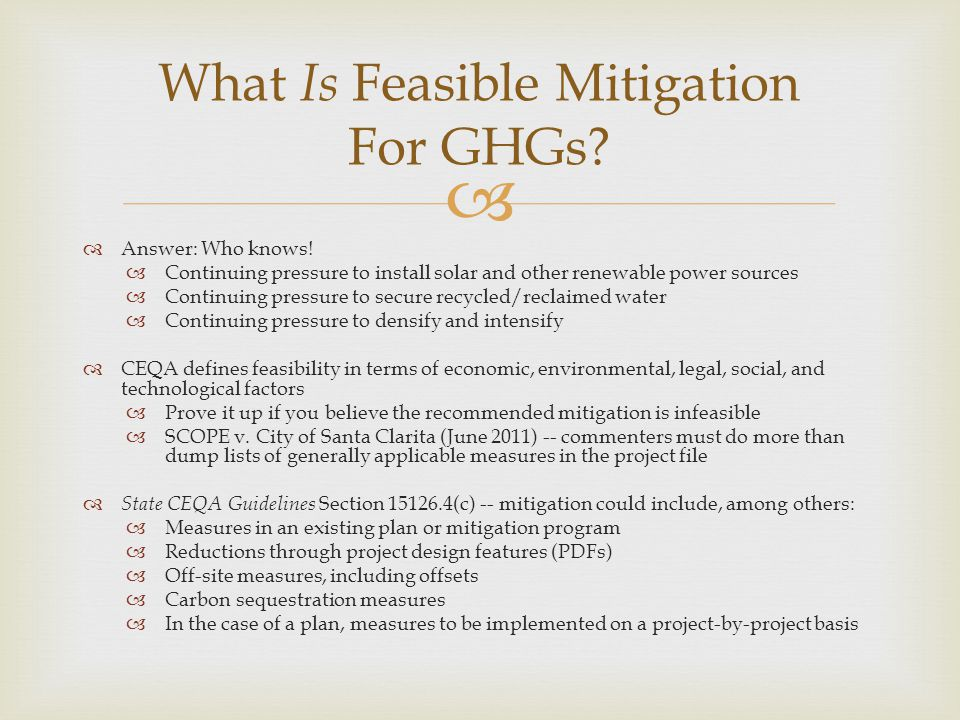 What Is Feasible Mitigation For GHGs