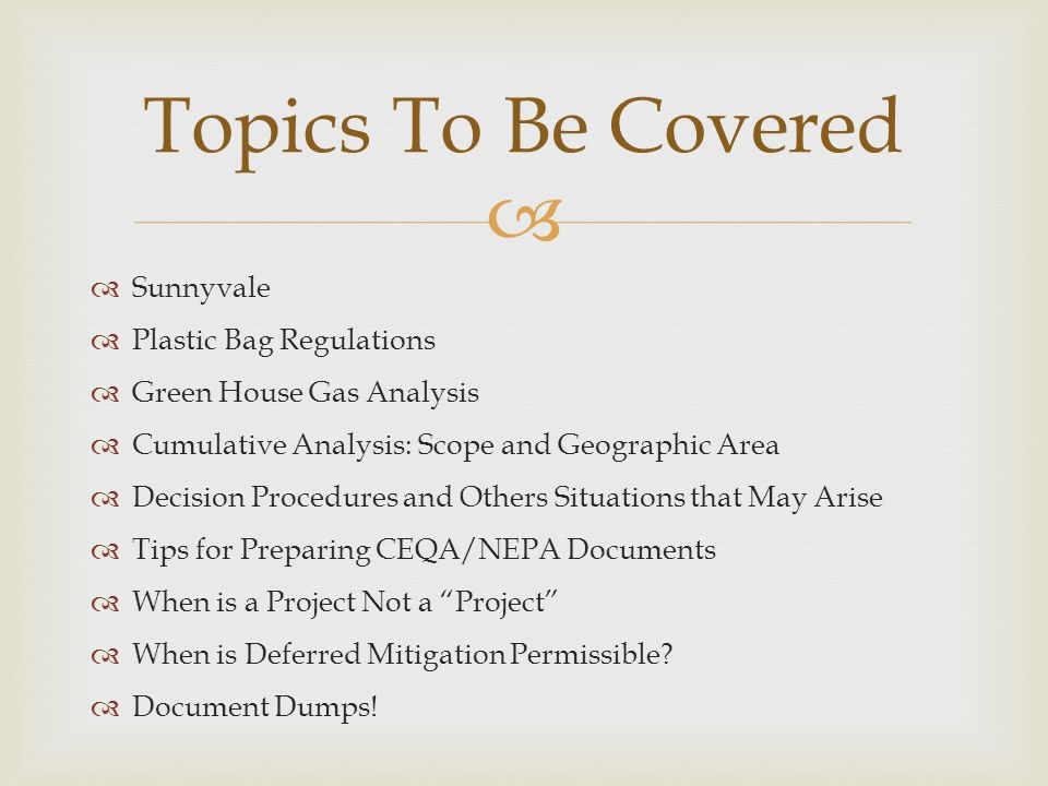 Topics To Be Covered Sunnyvale Plastic Bag Regulations