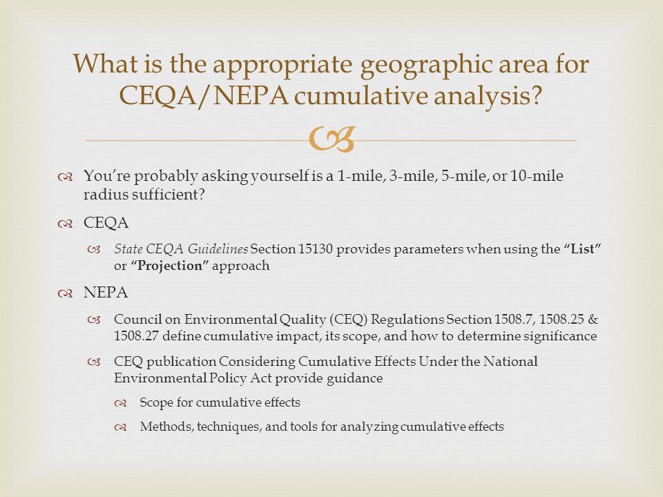 What is the appropriate geographic area for CEQA/NEPA cumulative analysis