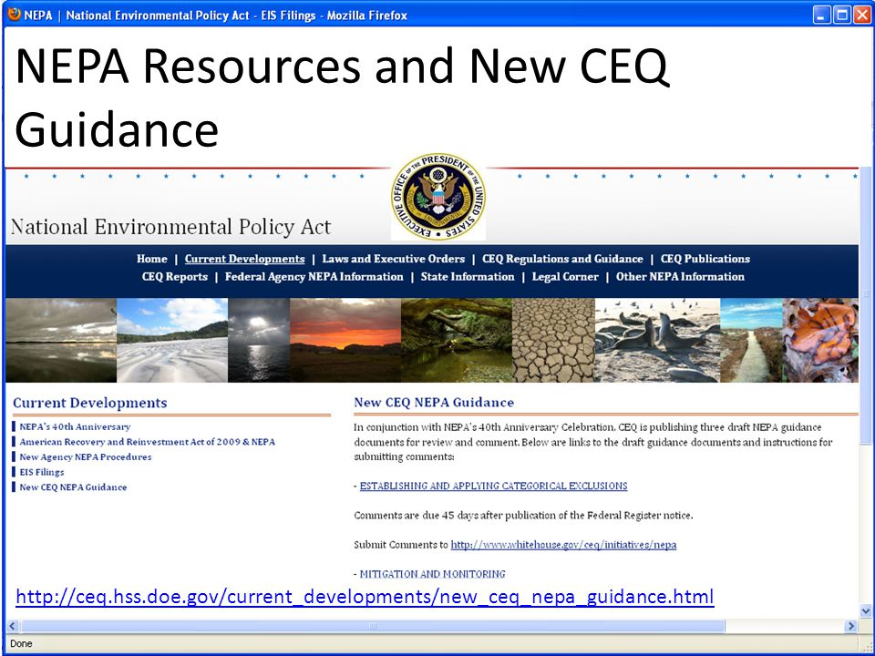 NEPA Resources and New CEQ Guidance