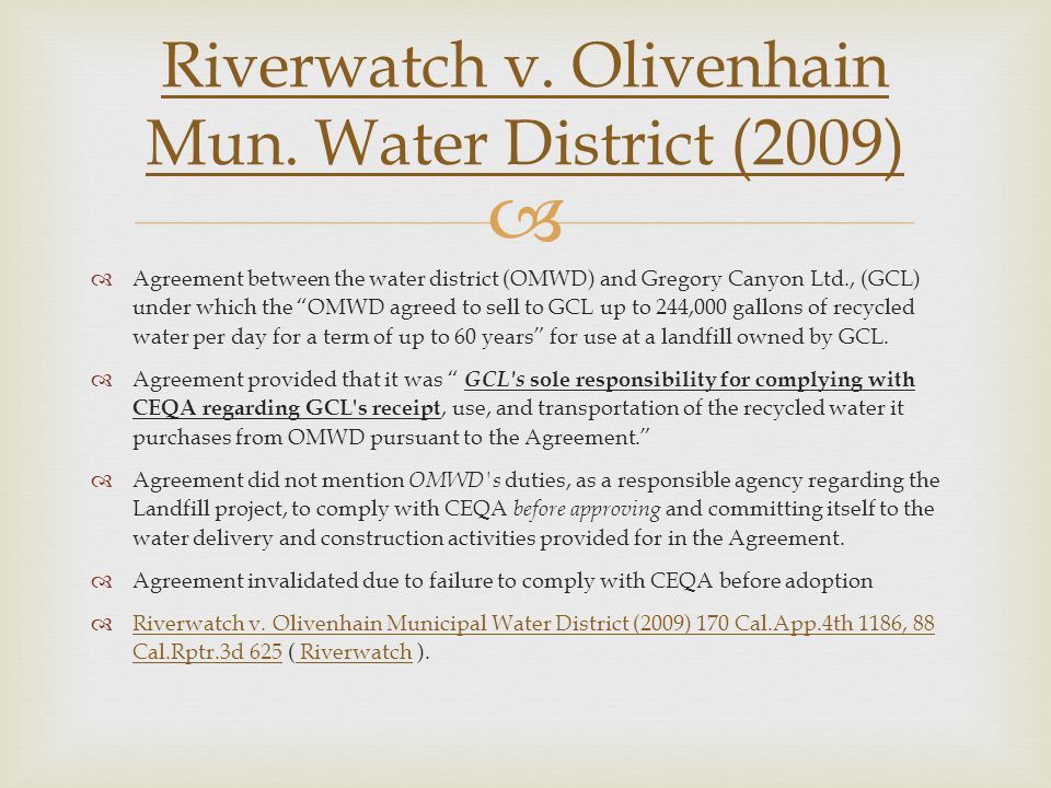 Riverwatch v. Olivenhain Mun. Water District (2009)