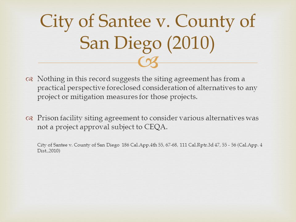 City of Santee v. County of San Diego (2010)