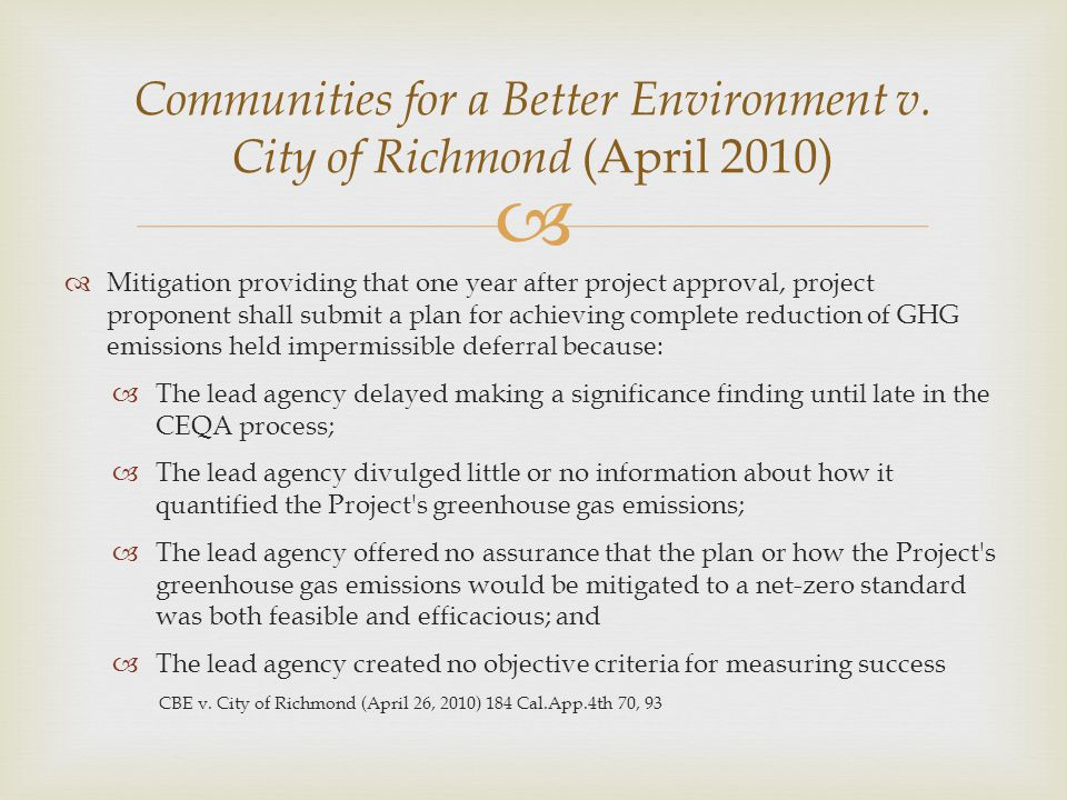 Communities for a Better Environment v. City of Richmond (April 2010)