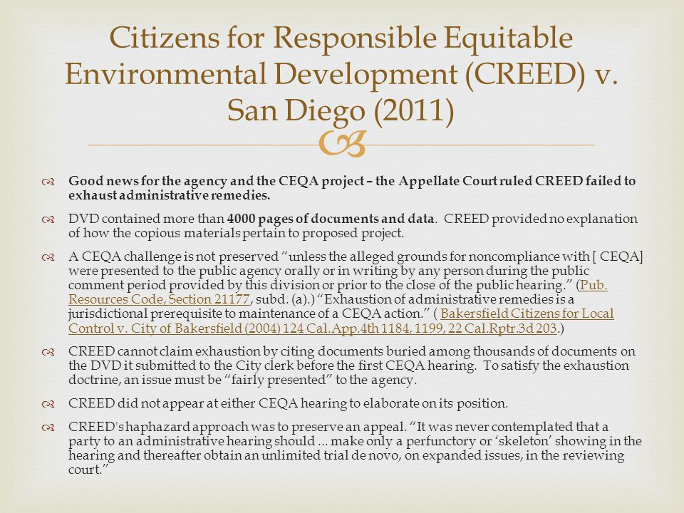 Citizens for Responsible Equitable Environmental Development (CREED) v