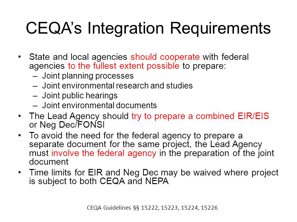 CEQA's Integration Requirements