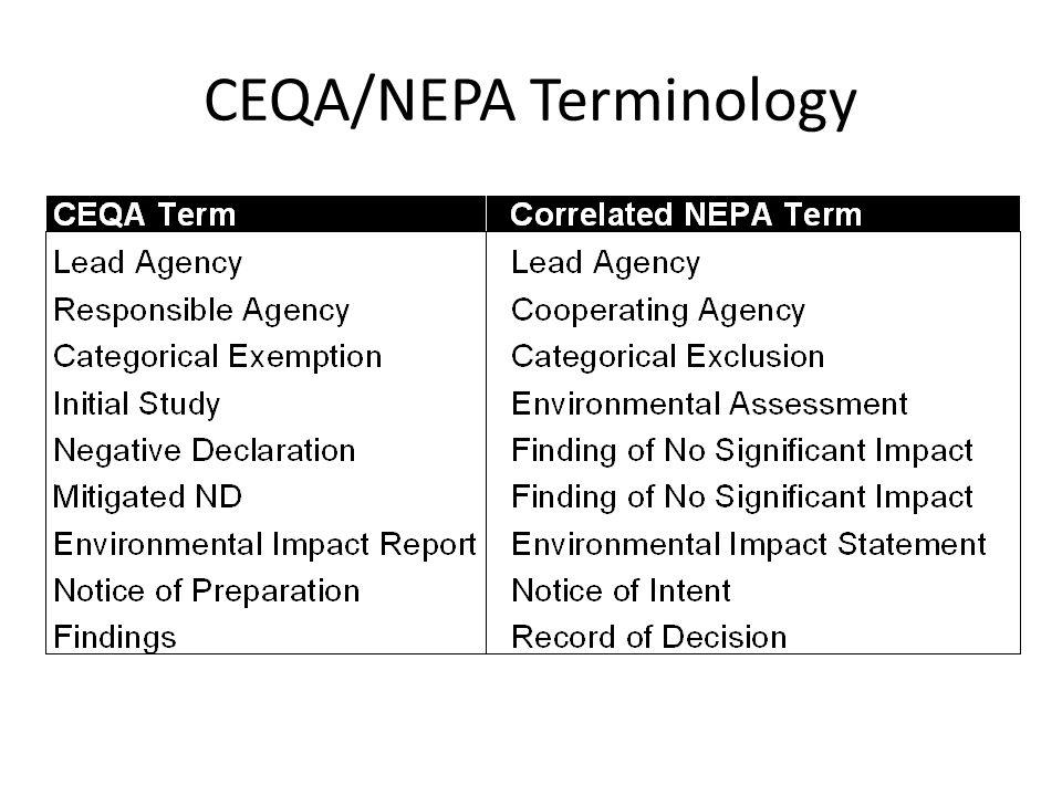 CEQA/NEPA Terminology