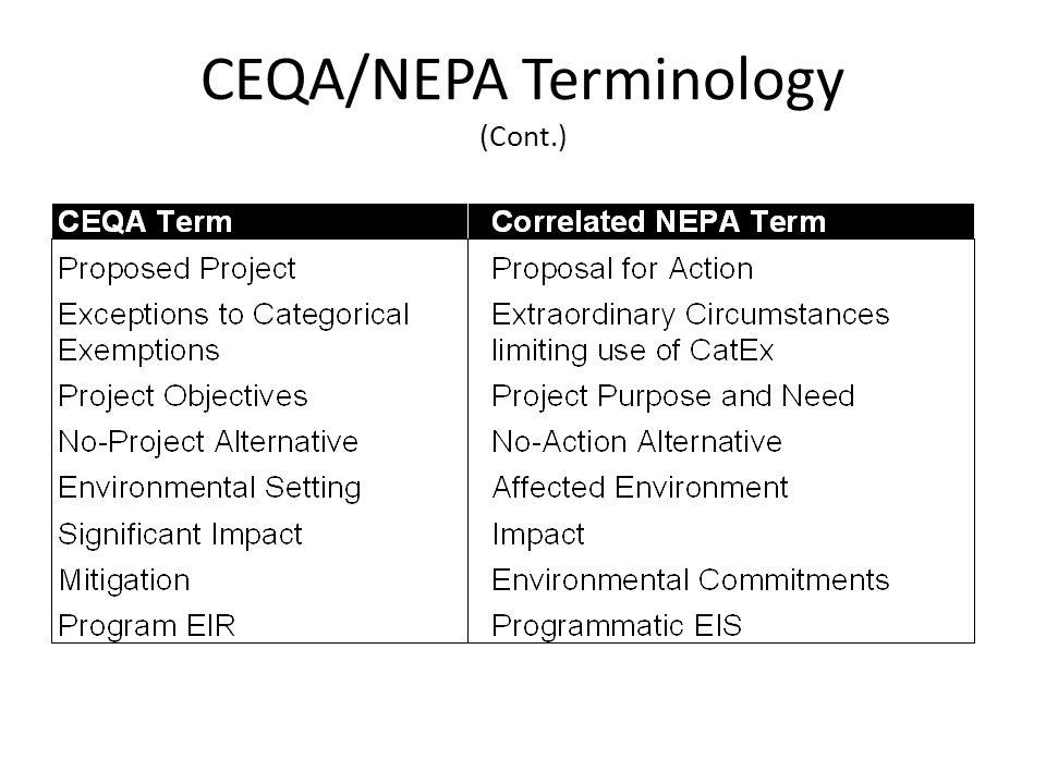 CEQA/NEPA Terminology (Cont.)