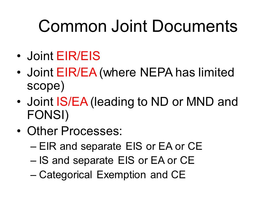 Common Joint Documents
