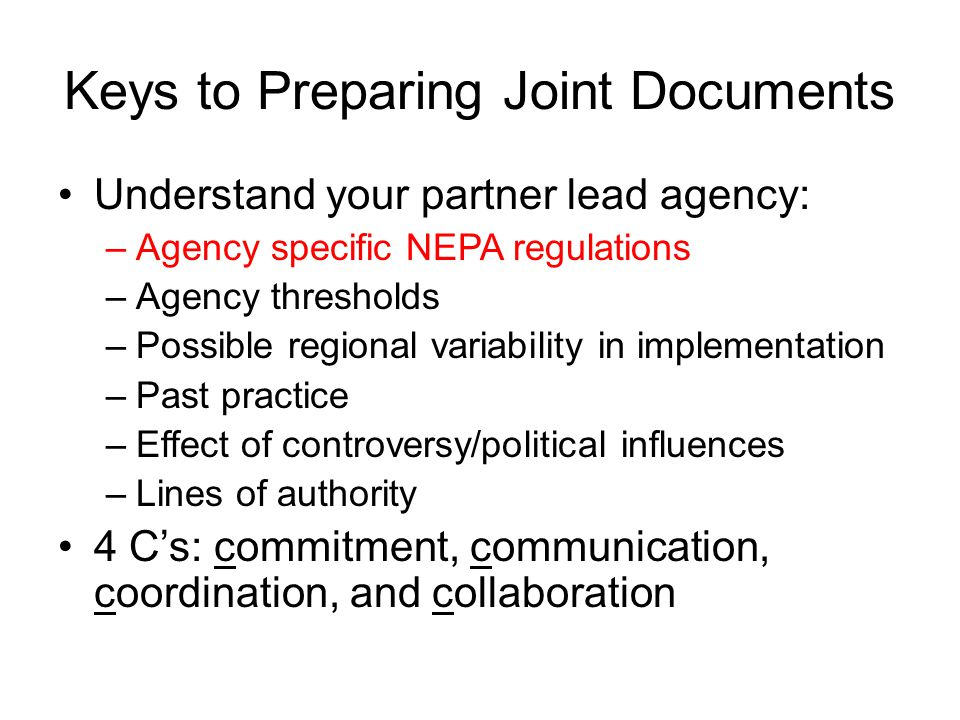 Keys to Preparing Joint Documents