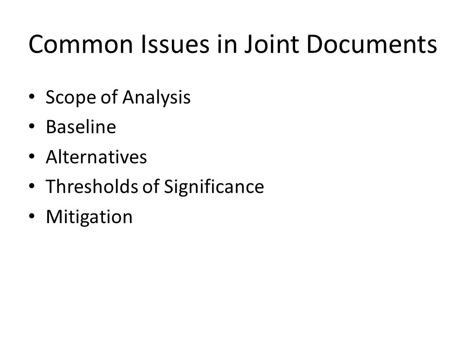 Common Issues in Joint Documents