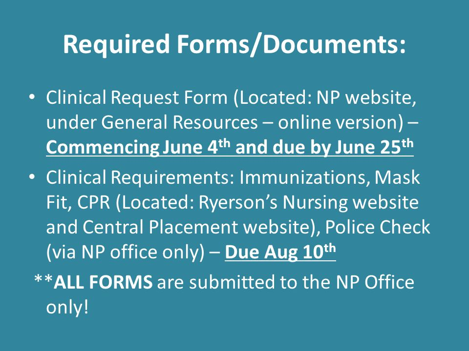 Required Forms/Documents: