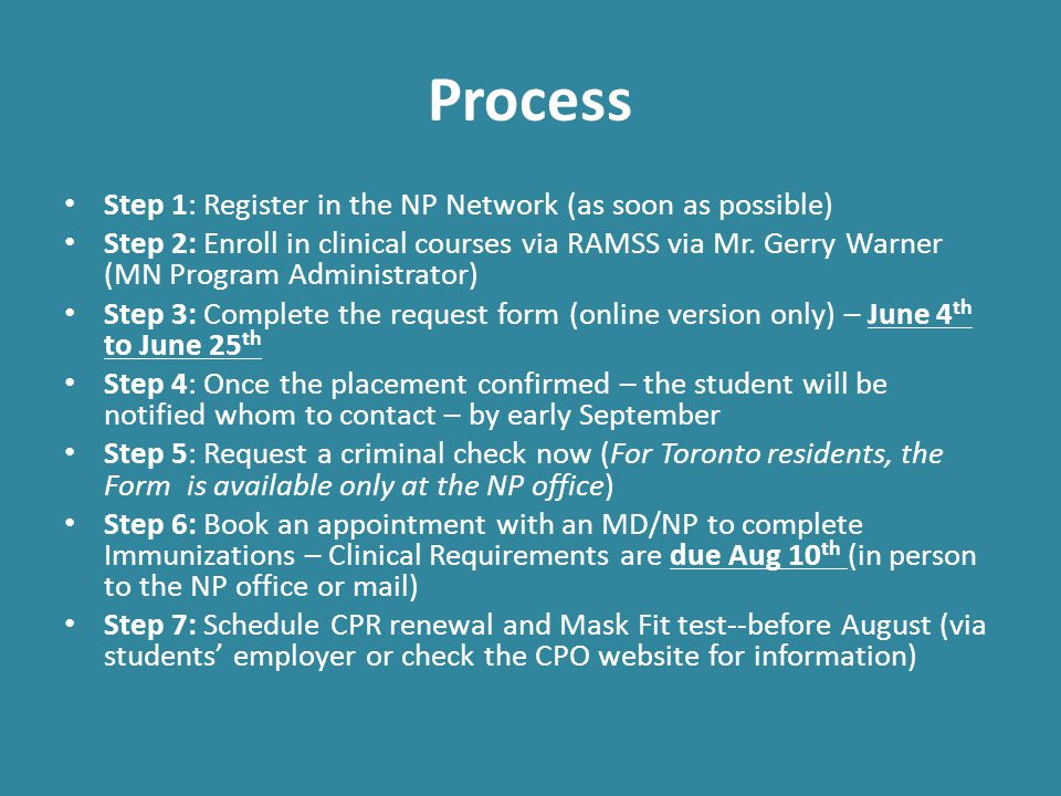 Process Step 1: Register in the NP Network (as soon as possible)