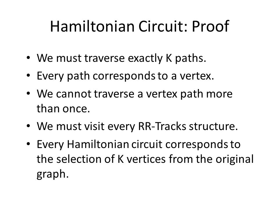 Hamiltonian Circuit: Proof