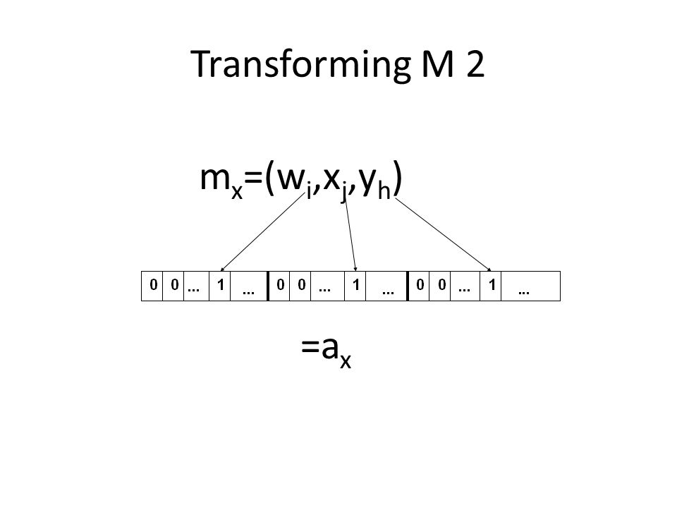 Transforming M 2 mx=(wi,xj,yh) =ax