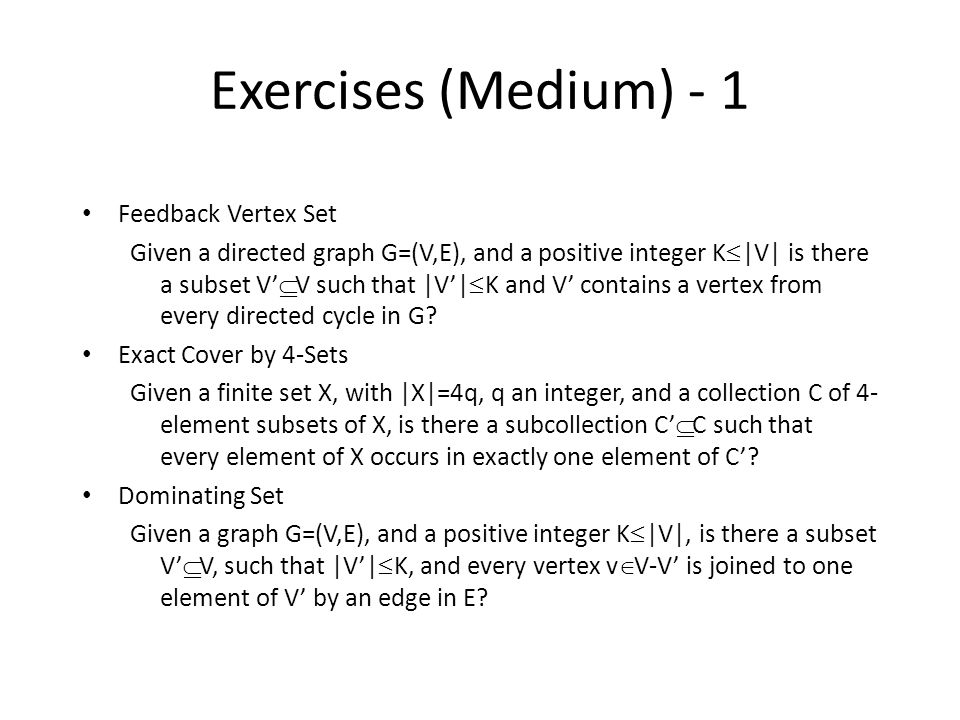 Exercises (Medium) - 1 Feedback Vertex Set