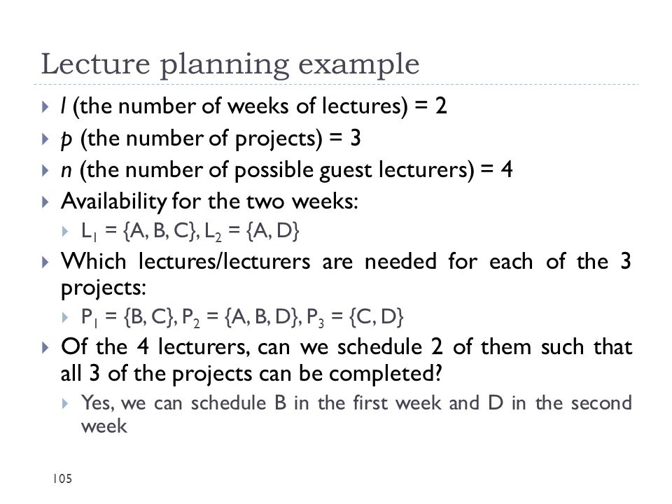 Lecture planning example