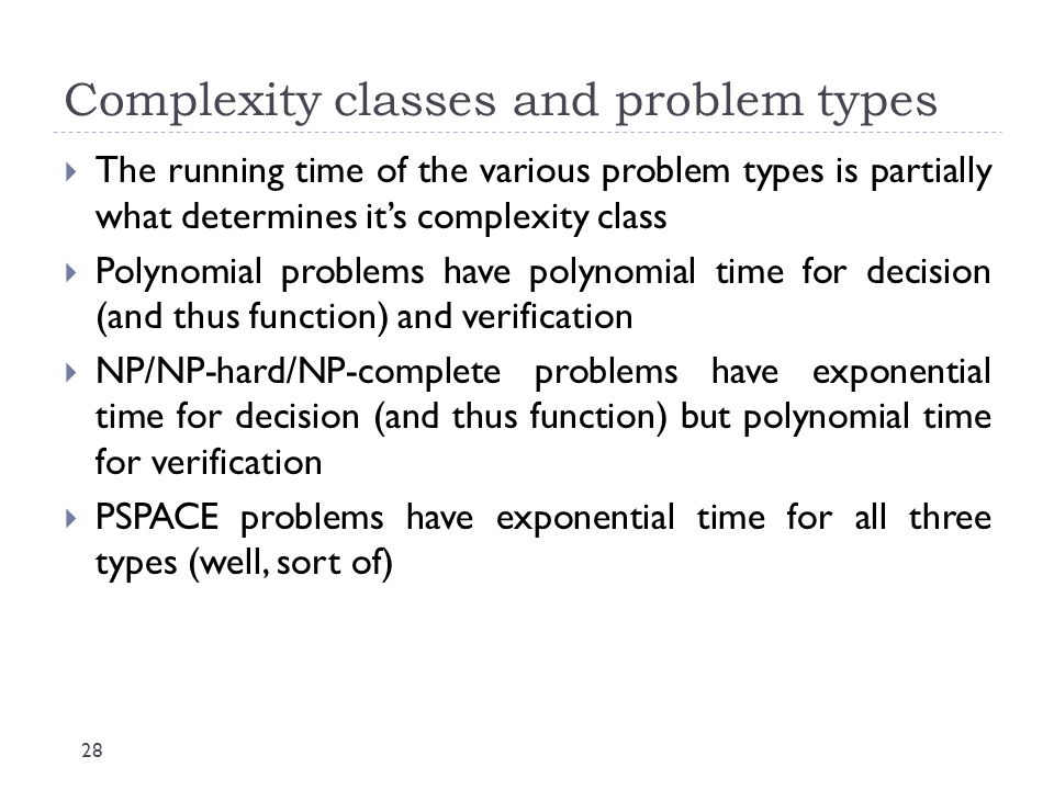 Complexity classes and problem types