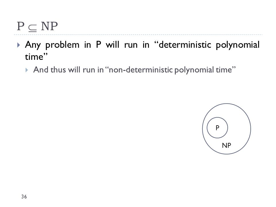 P  NP Any problem in P will run in deterministic polynomial time