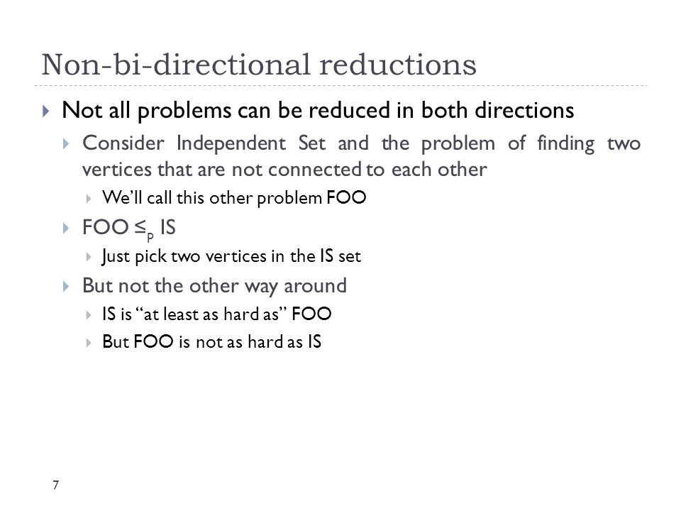 Non-bi-directional reductions