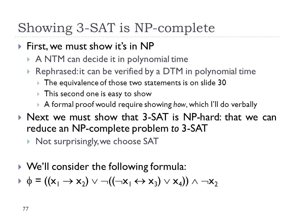 Showing 3-SAT is NP-complete