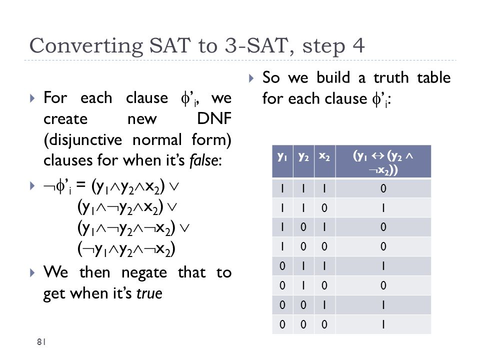 Converting SAT to 3-SAT, step 4