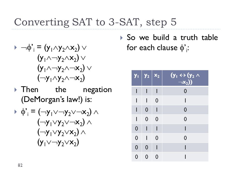 Converting SAT to 3-SAT, step 5