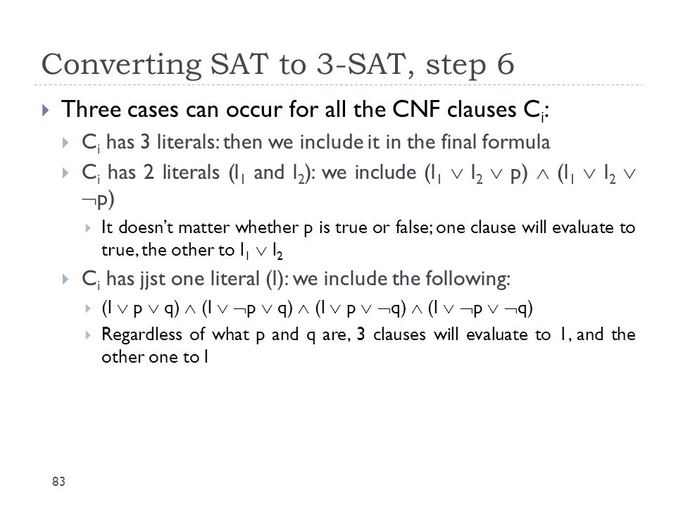 Converting SAT to 3-SAT, step 6