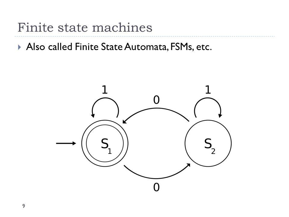 Finite state machines Also called Finite State Automata, FSMs, etc.