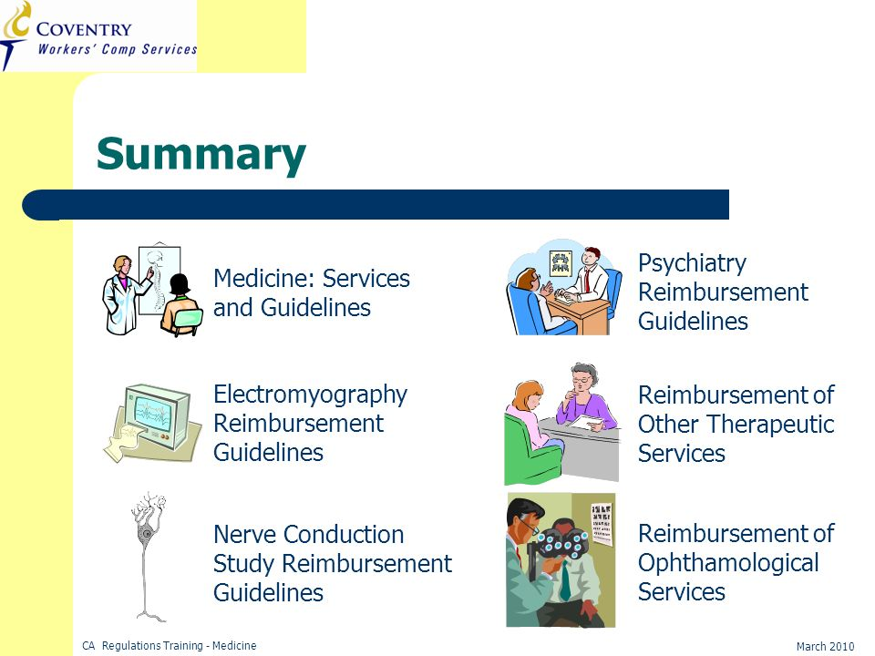 Summary Psychiatry Reimbursement Guidelines