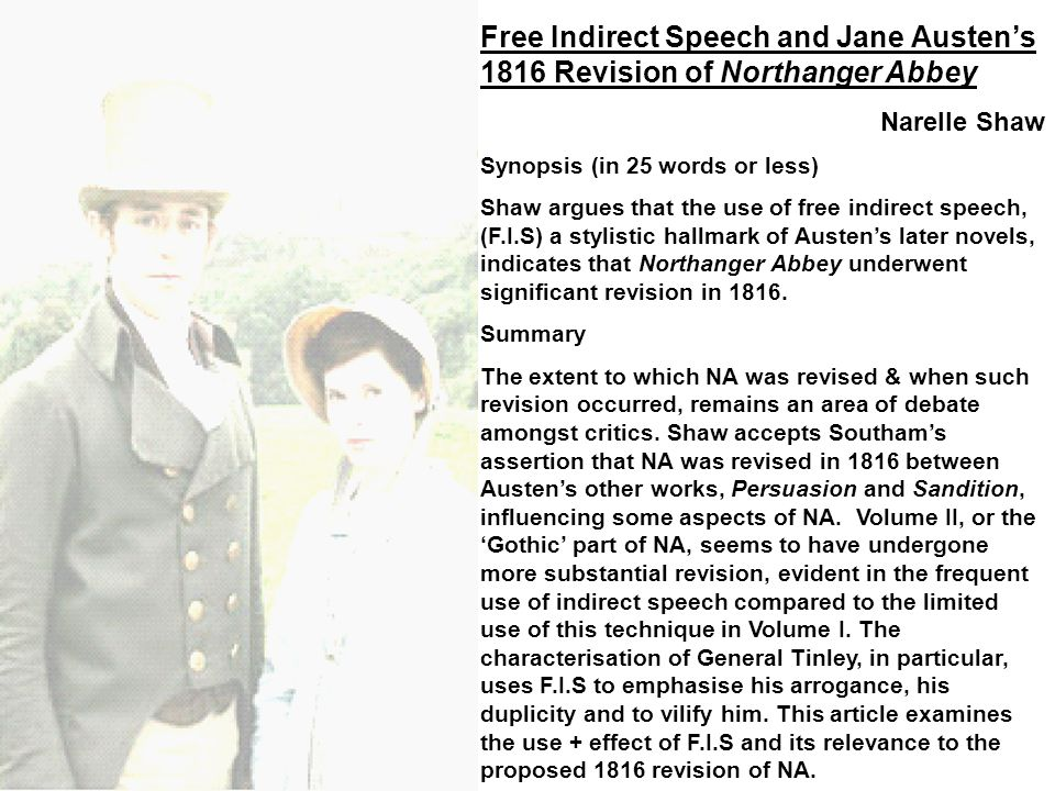 Free Indirect Speech and Jane Austen's 1816 Revision of Northanger Abbey