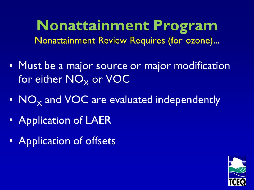 Nonattainment Program Nonattainment Review Requires (for ozone)...