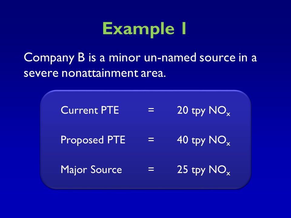 Example 1 Company B is a minor un-named source in a severe nonattainment area. Current PTE = 20 tpy NOX.