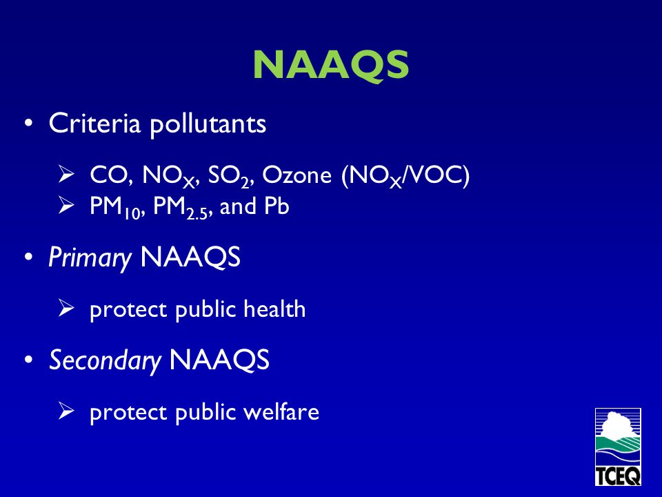 NAAQS Criteria pollutants Primary NAAQS Secondary NAAQS
