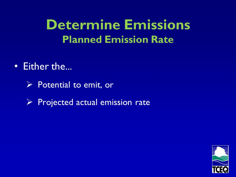 Determine Emissions Planned Emission Rate
