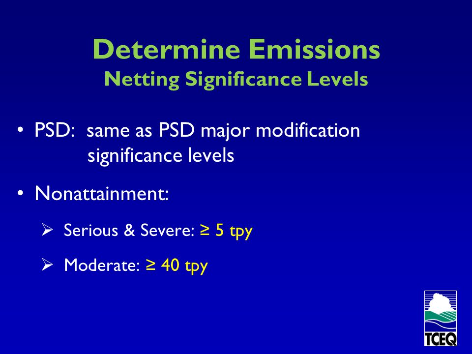 Determine Emissions Netting Significance Levels
