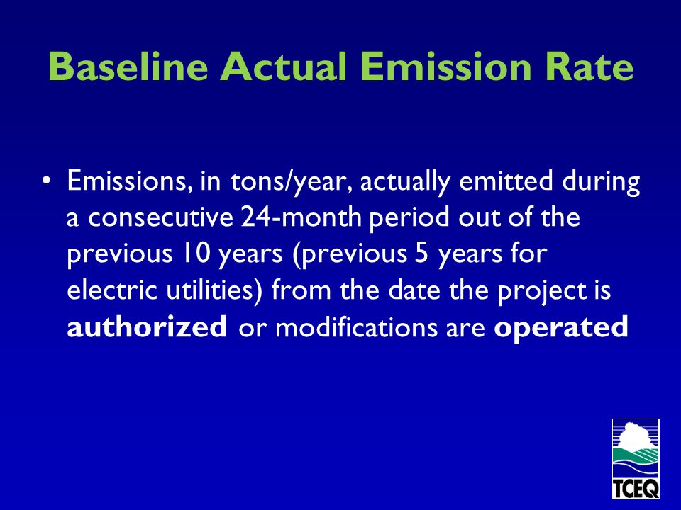 Baseline Actual Emission Rate