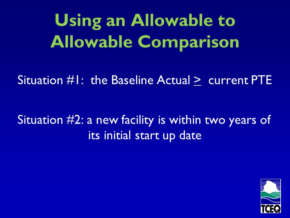Using an Allowable to Allowable Comparison