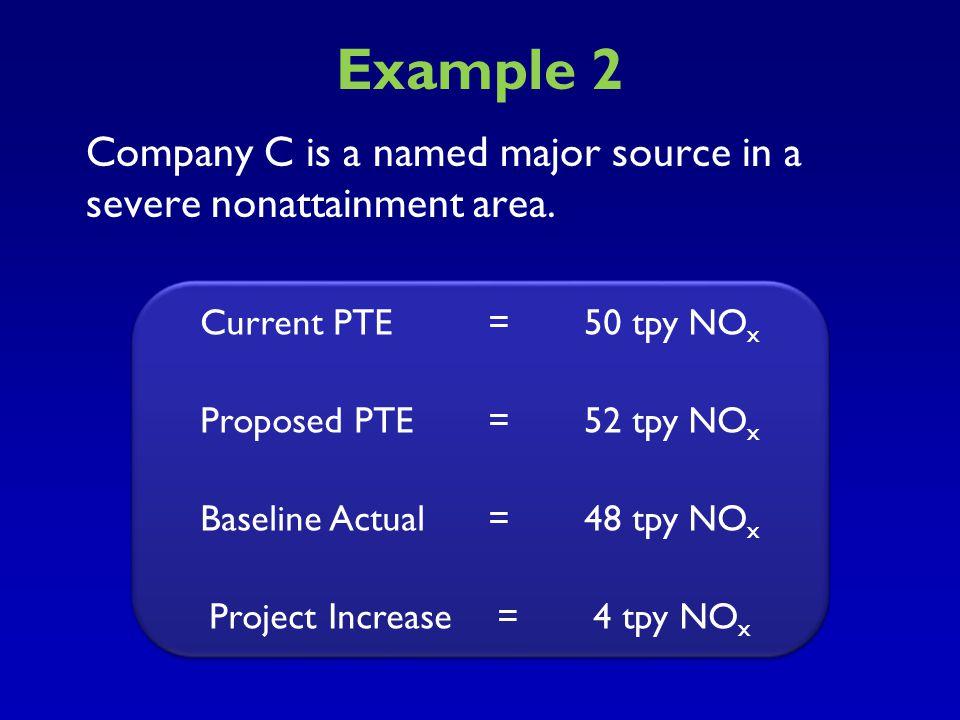 Example 2 Company C is a named major source in a severe nonattainment area. Current PTE = 50 tpy NOX.