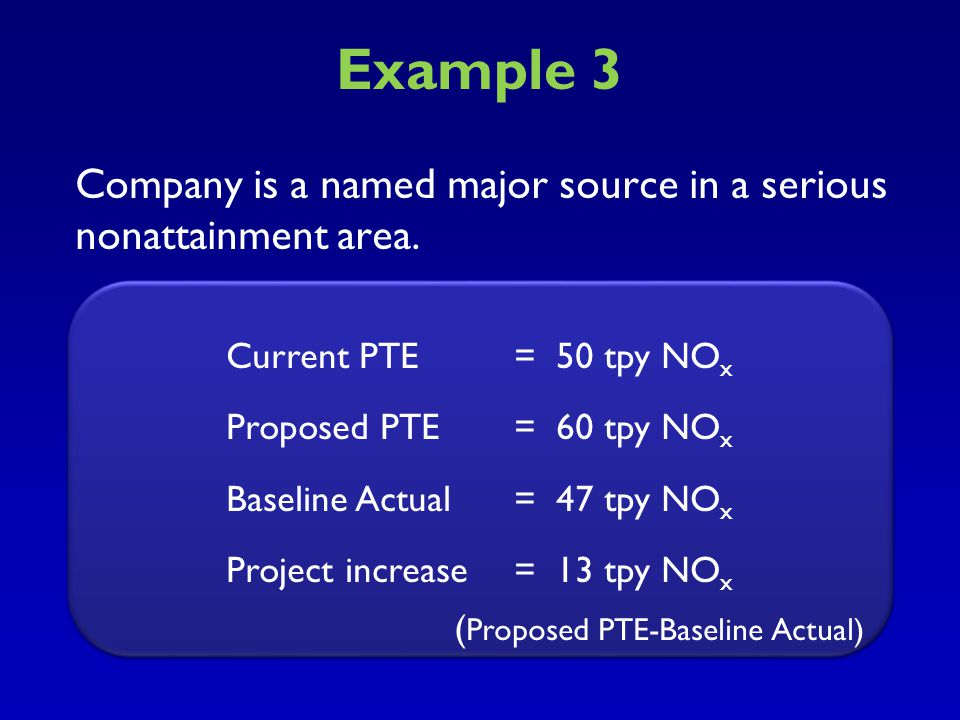 Example 3 Company is a named major source in a serious nonattainment area. Current PTE = 50 tpy NOX.