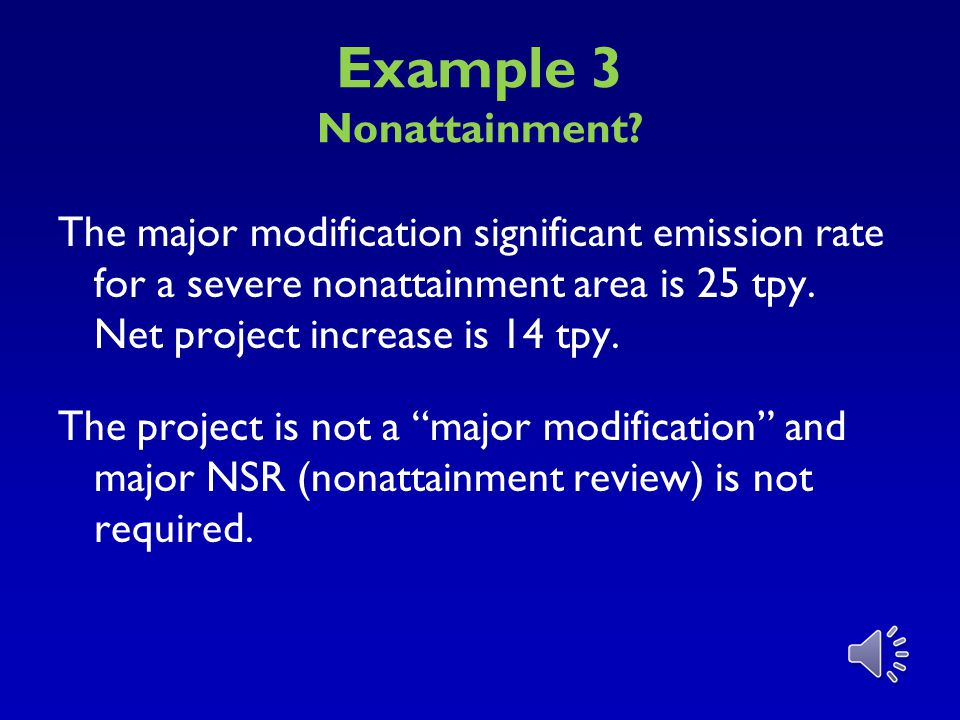 Example 3 Nonattainment