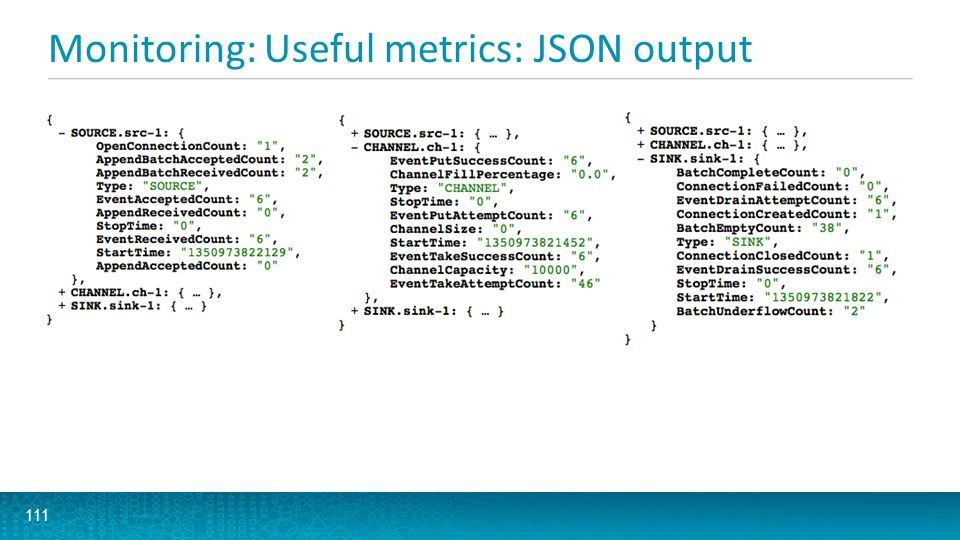 Monitoring: Useful metrics: JSON output