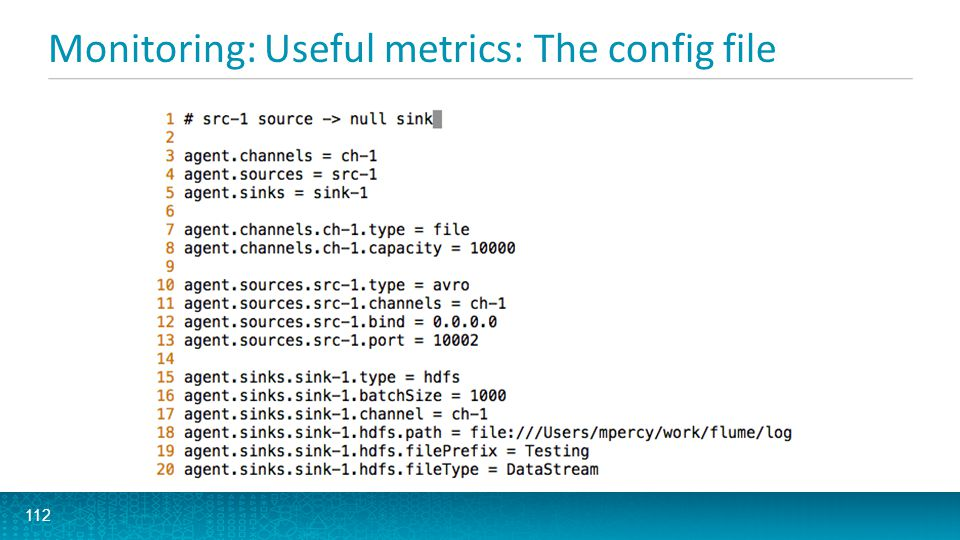Monitoring: Useful metrics: The config file