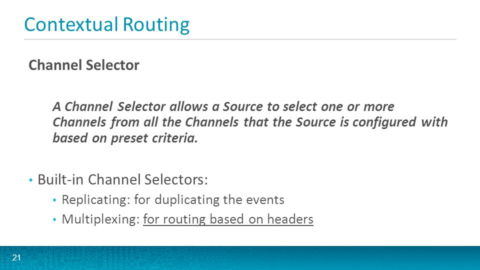 Contextual Routing Channel Selector Built-in Channel Selectors: