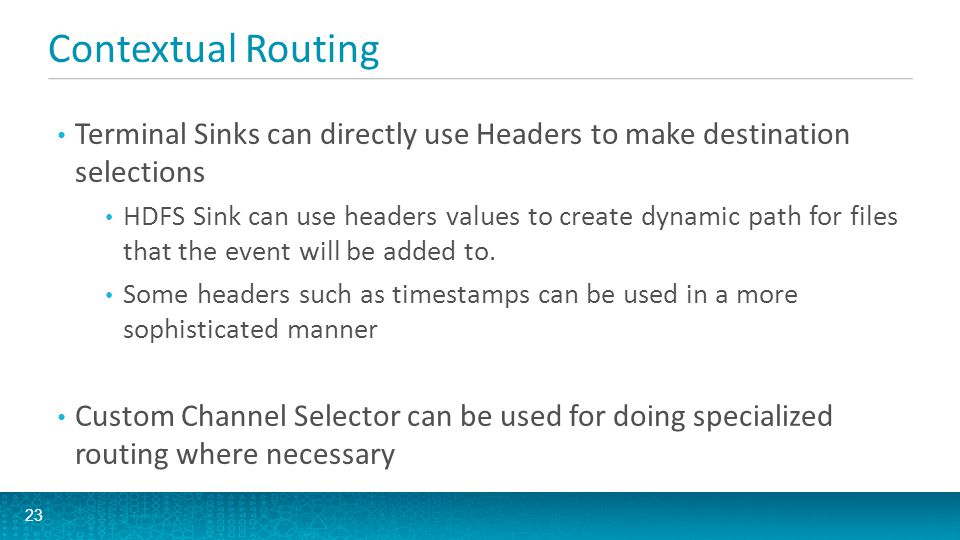 Contextual Routing Terminal Sinks can directly use Headers to make destination selections.