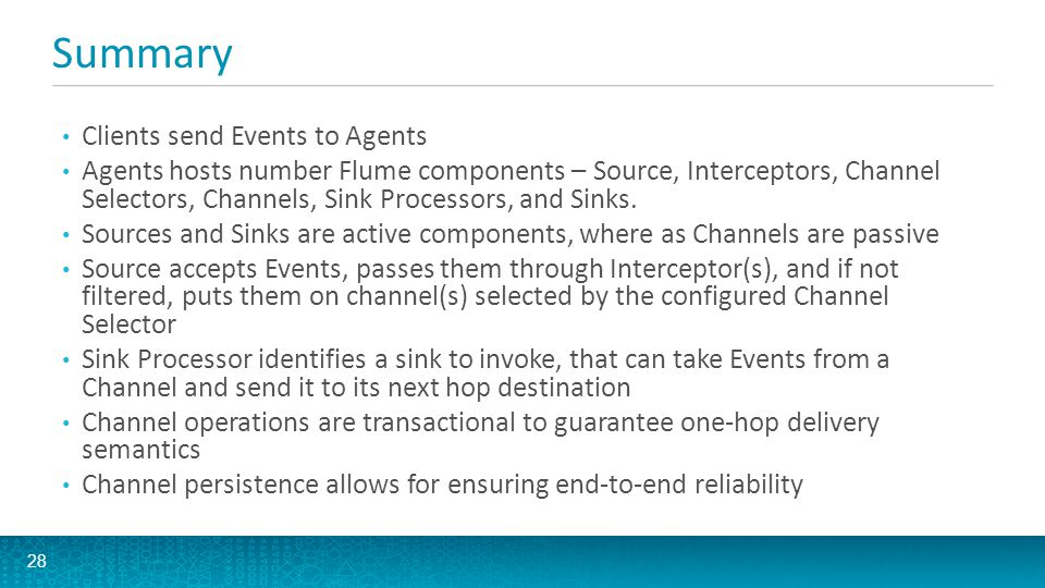 Summary Clients send Events to Agents