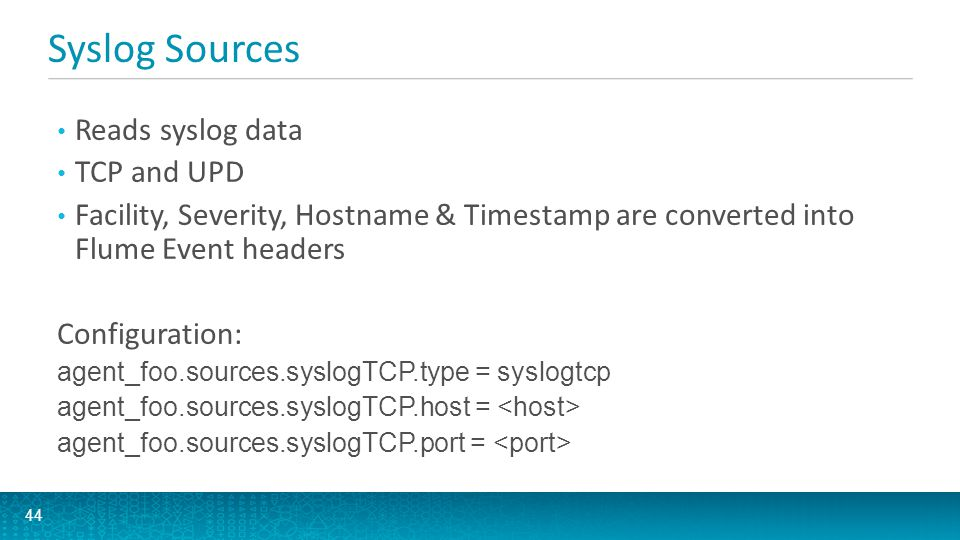 Syslog Sources Reads syslog data TCP and UPD