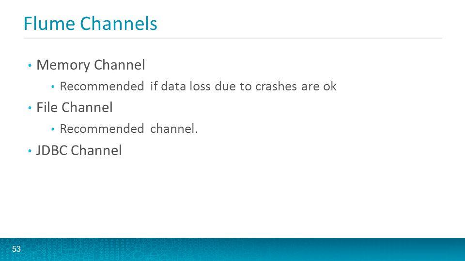 Flume Channels Memory Channel File Channel JDBC Channel