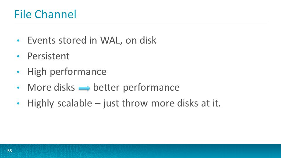 File Channel Events stored in WAL, on disk Persistent High performance