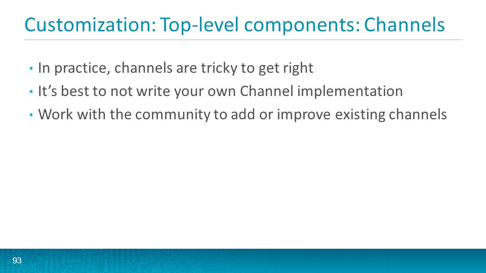 Customization: Top-level components: Channels