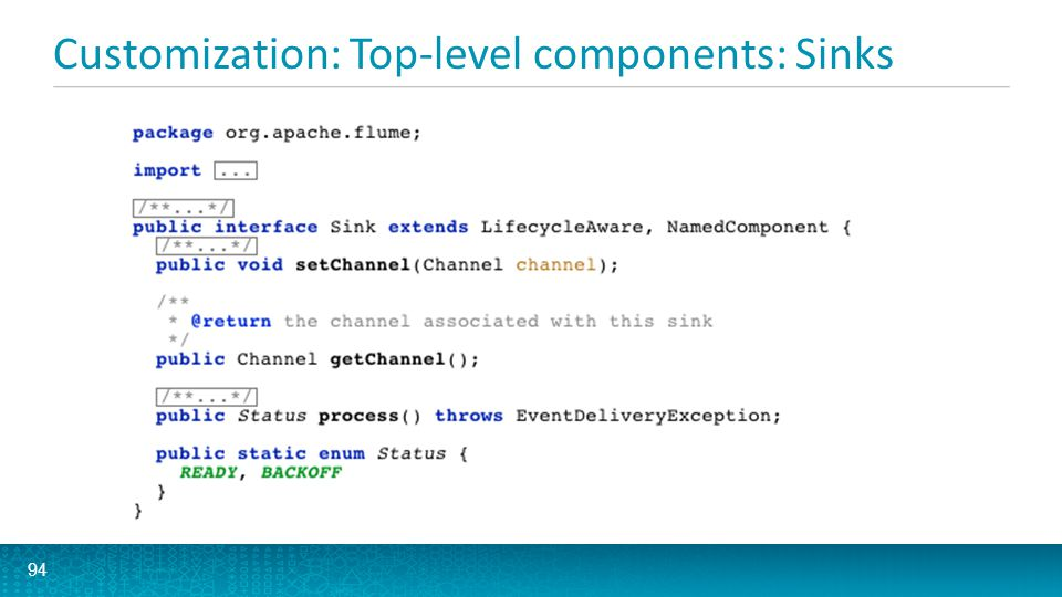 Customization: Top-level components: Sinks